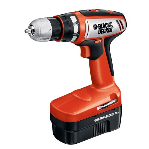 Black and Decker CD182K-2 18V Cordless 2 Speed Compact Drill with 2 Batteries and Storage Case
