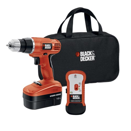 Black and Decker GCO18SFB 18V Cordless Drill with Stud Sensor and Storage Bag