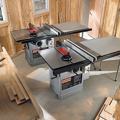 22802 Craftsman Professional 12 in. 3-hp Table Saw with Wooden Extension, 2 Support Legs & Right-tilt Arbor
