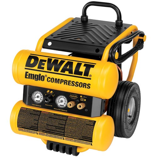 DeWalt D55154 1.1 HP Continuous 4 Gallon Electric Wheeled Dolly-Style Air Compressor with Panel